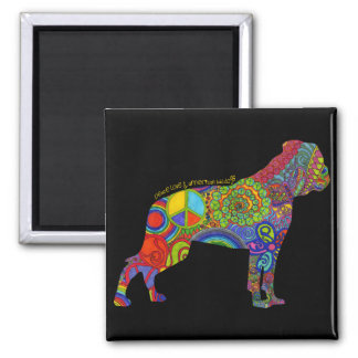 """Peace Love & American Bulldogs"" Pop Art Magnet"
