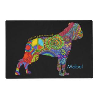 """Peace Love & American Bulldogs"" Pop Art Placemat"
