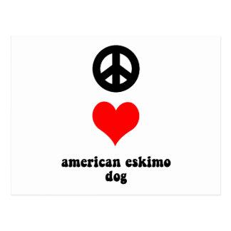 peace love american eskimo dog postcard