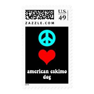 peace love american eskimo dog stamp
