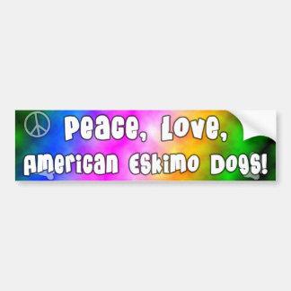 Peace Love American Eskimo Dogs Bumper Sticker