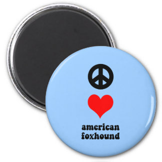 peace love american foxhound 2 inch round magnet