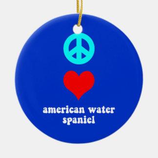peace love american water spaniel ceramic ornament