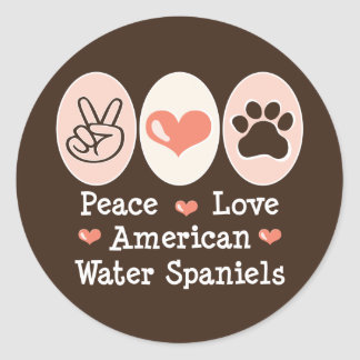 Peace Love American Water Spaniels Stickers