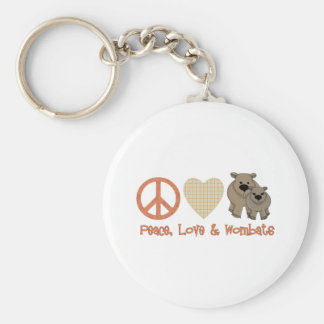 Peace, Love & Wombats Keychain