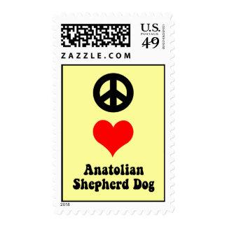 peace love anatolian shepherd dog postage stamp