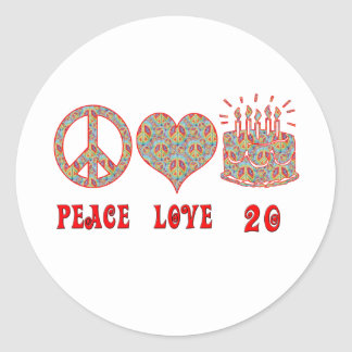 Peace, Love and 20 Classic Round Sticker