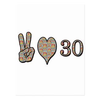 Peace Love and 30 Postcard