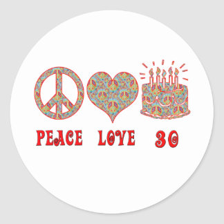 Peace Love and 30 Round Sticker