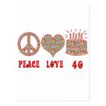 Peace Love and 40 Postcard