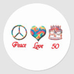 Peace Love and 50 Classic Round Sticker