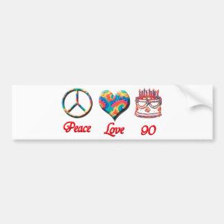 Peace Love and 90 Bumper Sticker