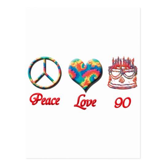 Peace Love and 90 Postcard