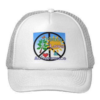 Peace, Love, and Acceptance Trucker Hat