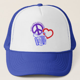 PEACE, LOVE AND ACCORDIONS TRUCKER HAT