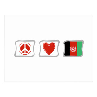 Peace Love and Afghanistan Flag Squares Postcard
