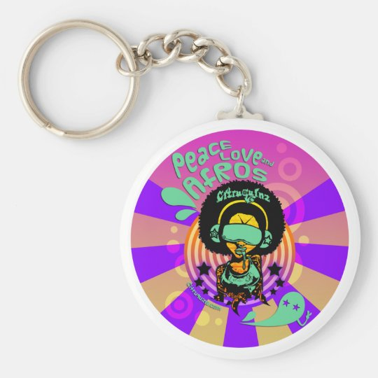 Peace, Love and Afros Keychain