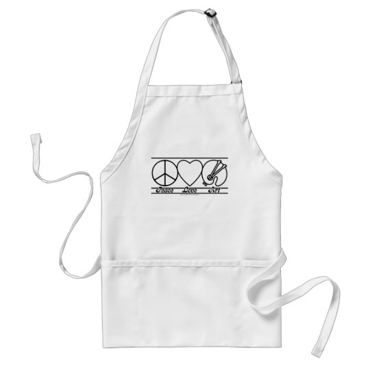 Peace Love and Art Adult Apron