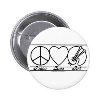 Peace Love and Art 2 Inch Round Button