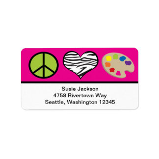 Peace Love and Art Label Address Label