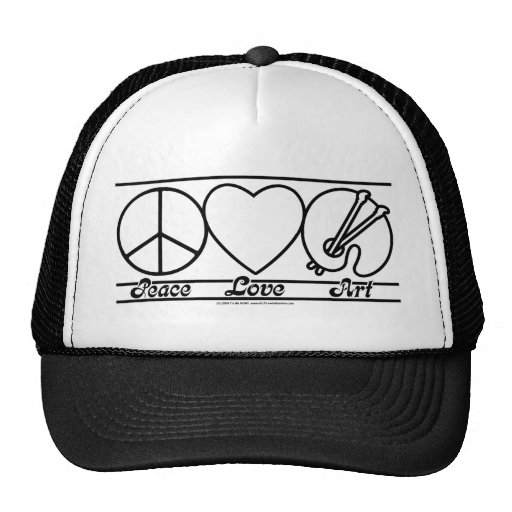 Peace Love and Art Trucker Hat