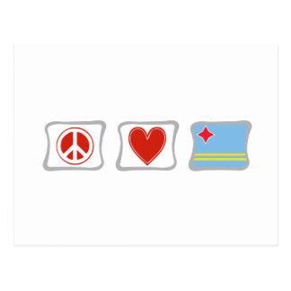 Peace Love and Aruba Squares Postcard