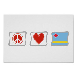 Peace Love and Aruba Squares Poster