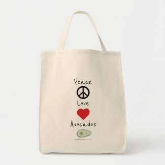 Peace, Love, and Avocados Grocery Tote