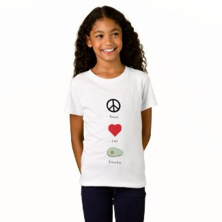 Peace, Love, and Avocados Kid's T-shirt