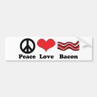 Peace love and bacon bumper sticker