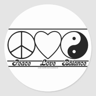 Peace Love and Balance Round Stickers