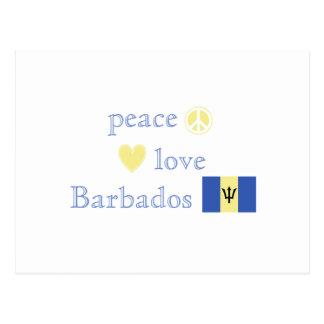 Peace Love and Barbados Postcard