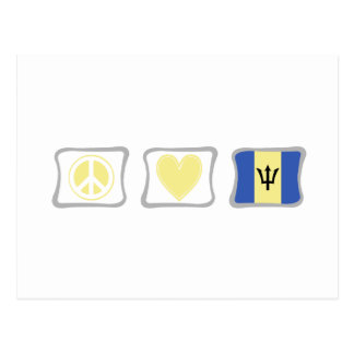 Peace Love and Barbados Squares Postcard
