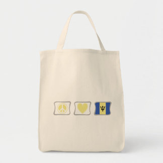 Peace Love and Barbados Squares Tote Bag