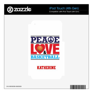 Peace, Love and Basketball-Choose Background Color Decals For iPod Touch 4G