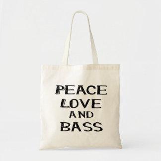 peace love and bass bernice black tote bag
