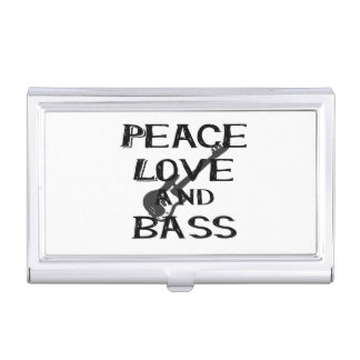 Peace Love And Bass Bernice Black W Guitar Png Business Card Holder