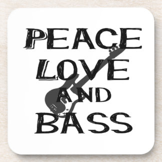peace love and bass bernice black w guitar.png beverage coasters