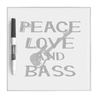 peace love and bass bernice black w guitar.png dry erase board