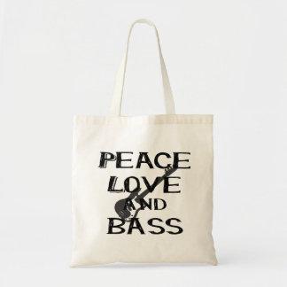 peace love and bass bernice black w guitar.png tote bag