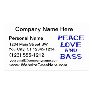 peace love and bass bernice blue.png Double-Sided standard business cards (Pack of 100)
