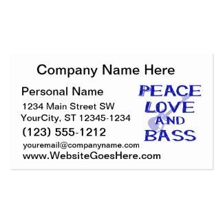 peace love and bass bernice blue w guitar Double-Sided standard business cards (Pack of 100)