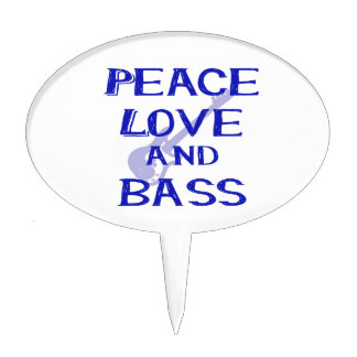 peace love and bass bernice blue w guitar cake topper