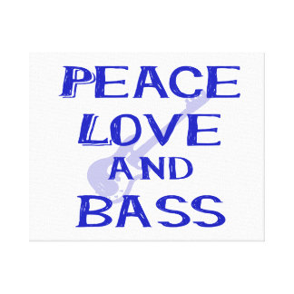 peace love and bass bernice blue w guitar canvas print