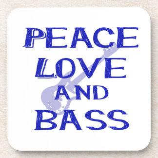 peace love and bass bernice blue w guitar beverage coasters