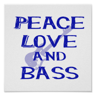 peace love and bass bernice blue w guitar poster