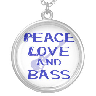 peace love and bass bernice blue w guitar silver plated necklace