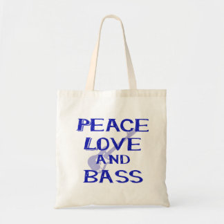 peace love and bass bernice blue w guitar tote bag