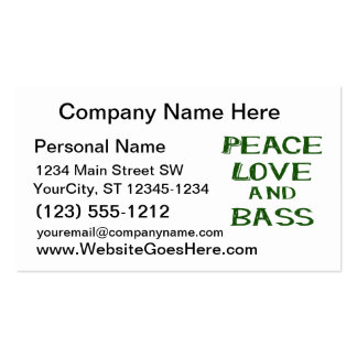 peace love and bass bernice green Double-Sided standard business cards (Pack of 100)
