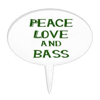 peace love and bass bernice green cake topper